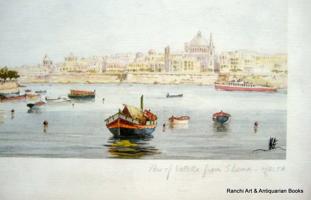 View of Valletta from Sliema - Malta, lithograph, signed J. Pace. c1970. Detail.