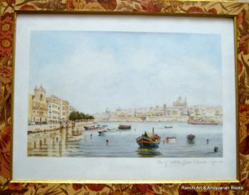 View of Valletta from Sliema - Malta, lithograph, signed J. Pace, c1970.  SOLD 04.02.2017.