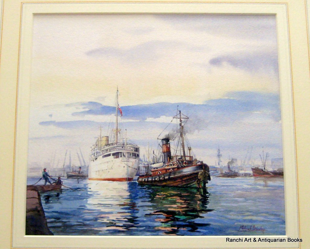 Tug Napier towing R.M.S. Canton in Port of London 1950, watercolour, signed Michael Crawley.