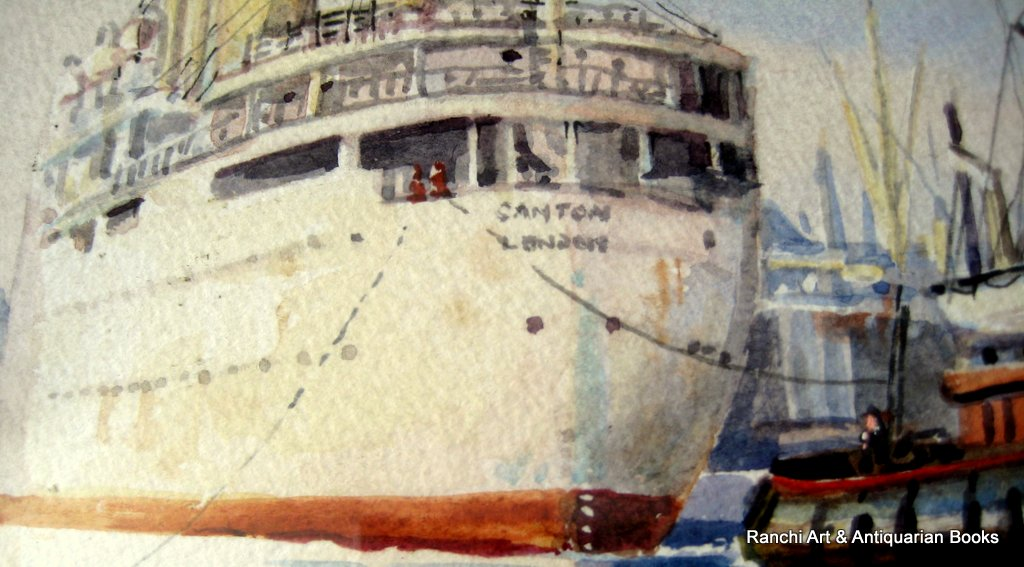 Tug Napier towing R.M.S. Canton in Port of London 1950, watercolour, signed Michael Crawley. Detail.