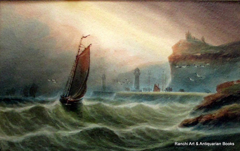 Fishermen returning to Whitby, watercolour, A. Smith, c1920. Whitby Fishermen