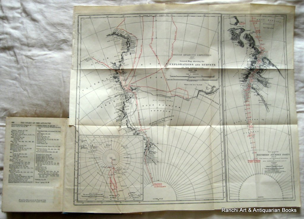 The Heart of the Antarctic, Sir Ernest Shackleton, 1st Reprint, 1911. Detail. Map.
