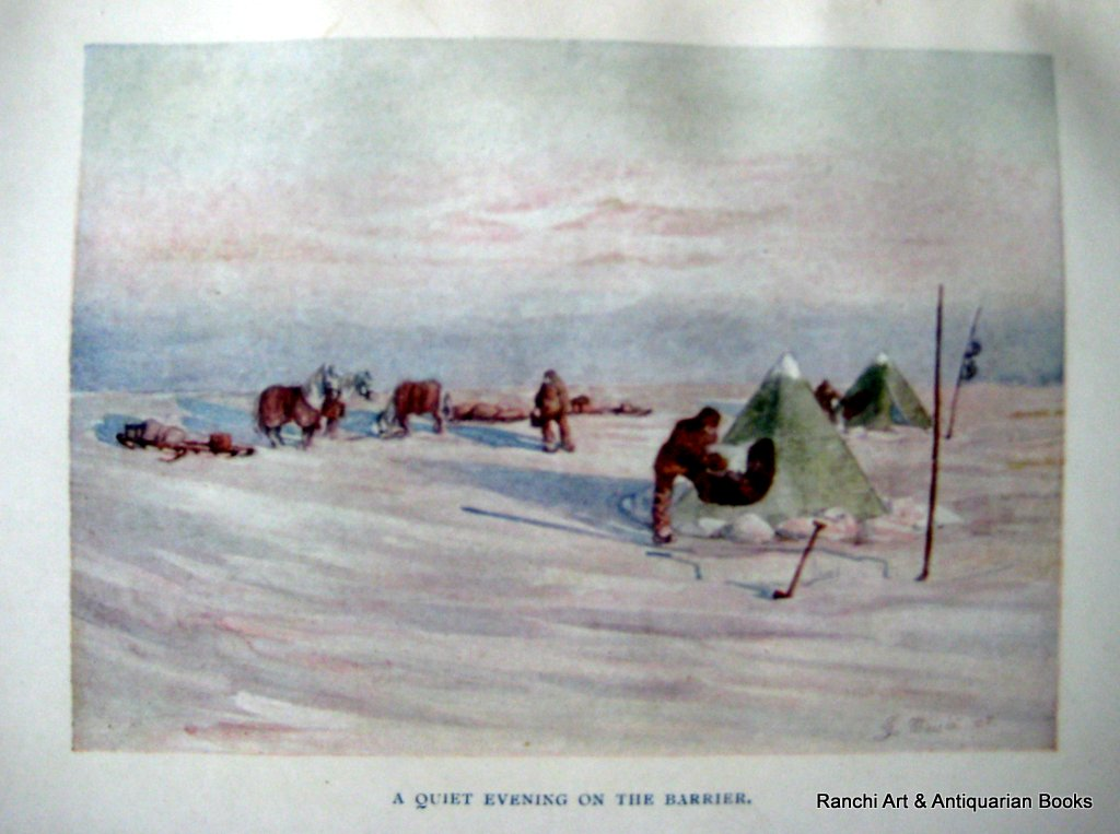 The Heart of the Antarctic, Sir Ernest Shackleton, 1st Reprint, 1911. Detail. Colour plate.