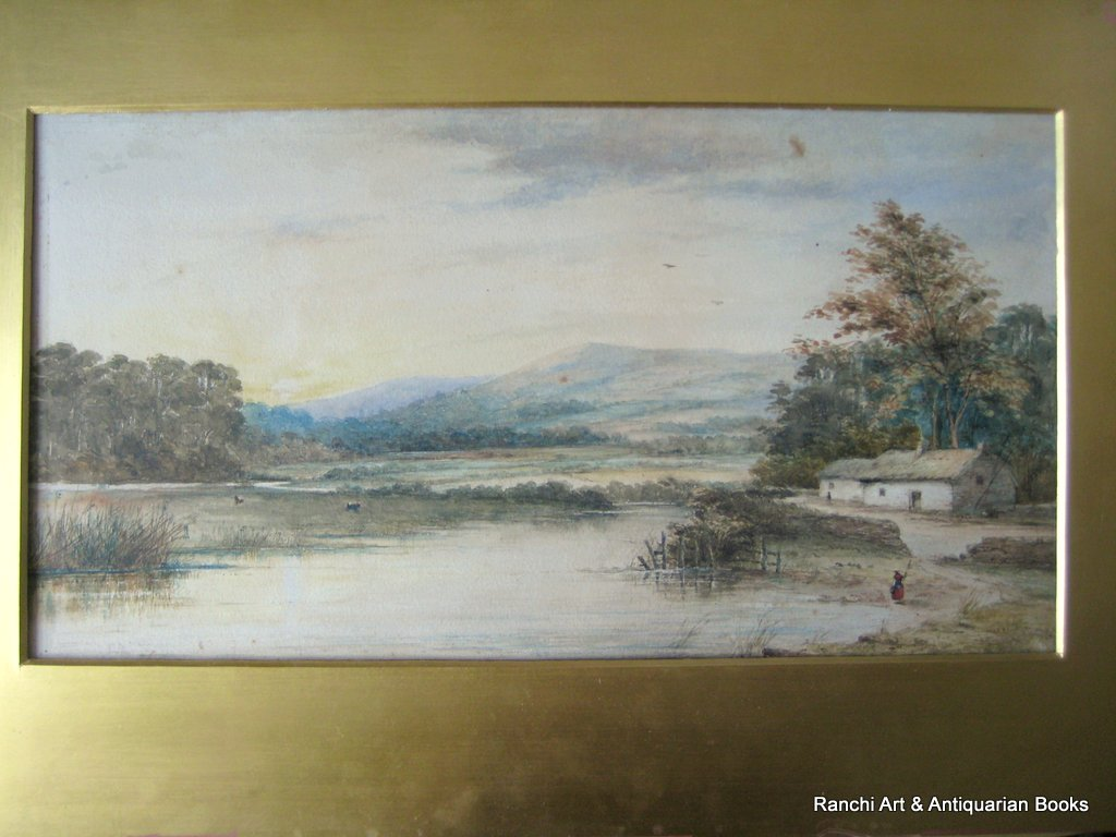 Landscape, Lake, Farmhouse, Figures, watercolour, faintly inscribed. Attrib. to Sophy S. Warren, c1880.