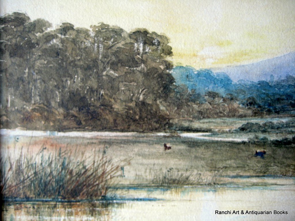 Landscape, Lake, Farmhouse, Figures, watercolour, faintly inscribed. Attrib. to Sophy S. Warren, c1880. Detail.