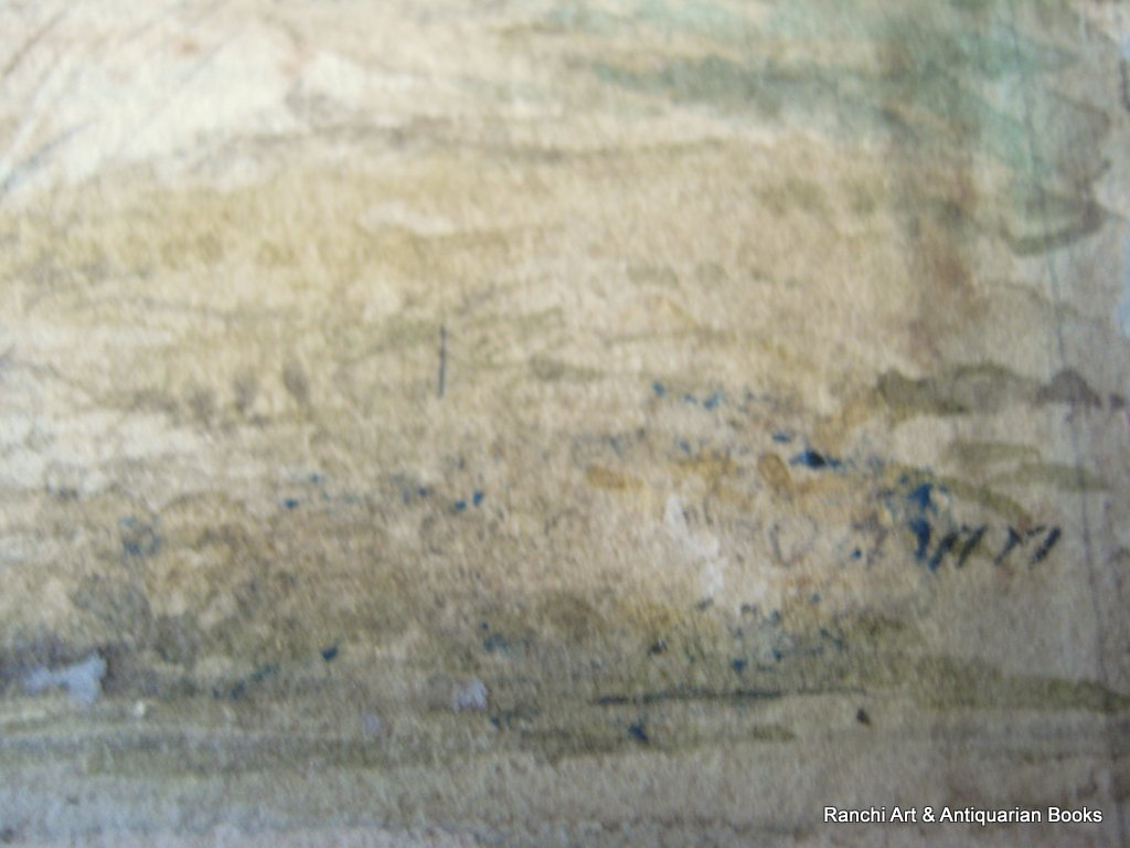Landscape, Lake, Farmhouse, Figures, watercolour, faintly inscribed. Attrib. to Sophy S. Warren, c1880. Detail. Inscription lower edge.