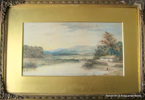 Landscape with Lake, Farmhouse and Figures, watercolour, faintly inscribed.