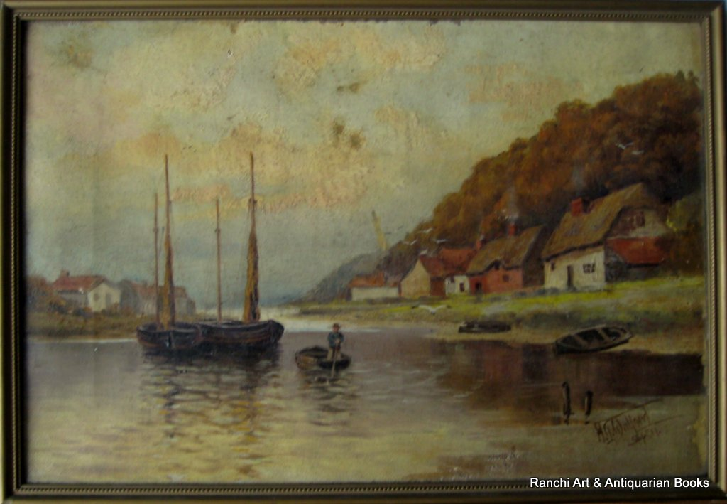 Estuary view with fishing boats, oil on canvas, signed HG Walford 11.