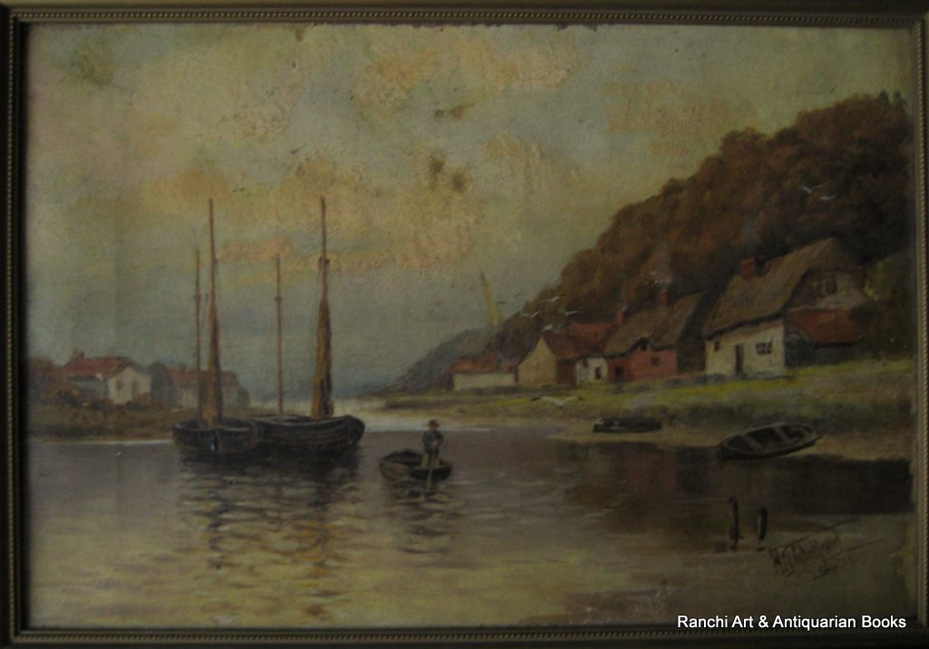 Estuary view with fishing boats, oil on canvas, signed HG Walford 11. 1911.
