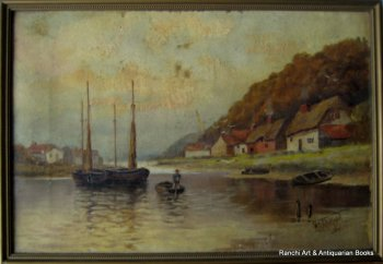 Estuary view with fishing boats, oil on canvas, signed H.G. Walford, Sept. 11. 1911.  SOLD 02.01.2016.