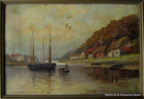 Estuary view with fishing boats, oil on canvas, signed H.G. Walford, Sept.