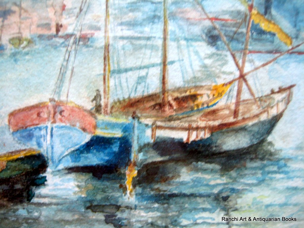 Istanbul maritime scenes, a pair, watercolours, signed L. Law. c1900. Detail.