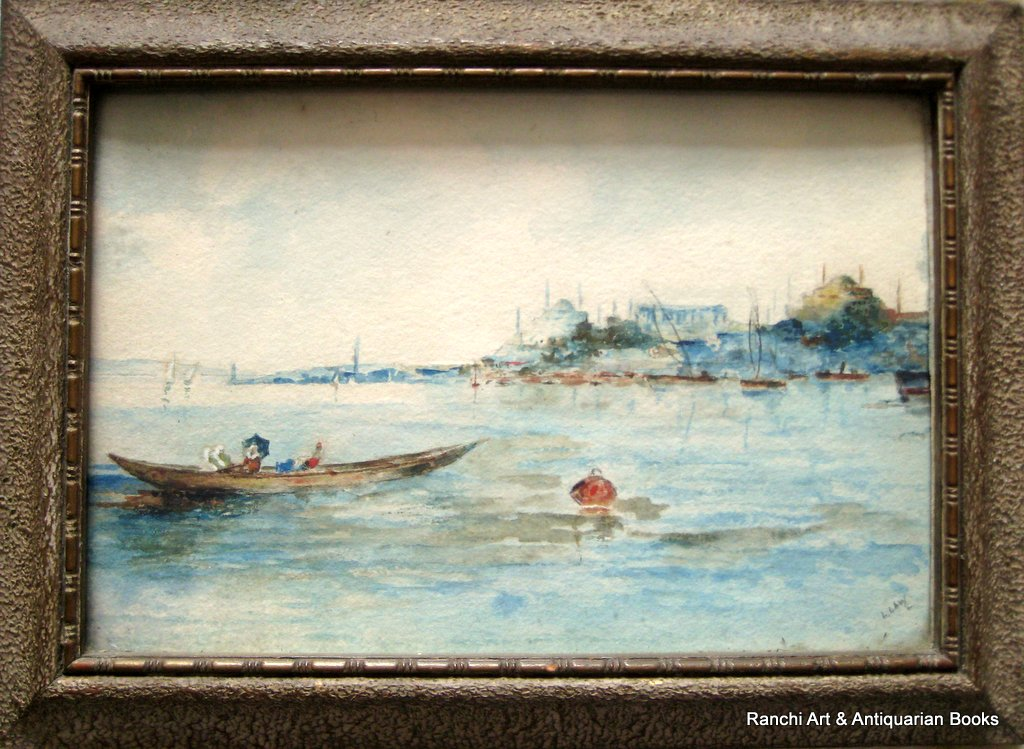 Istanbul maritime scenes, a pair, watercolours, signed L. Law. c1900. Ferry boat crossing.