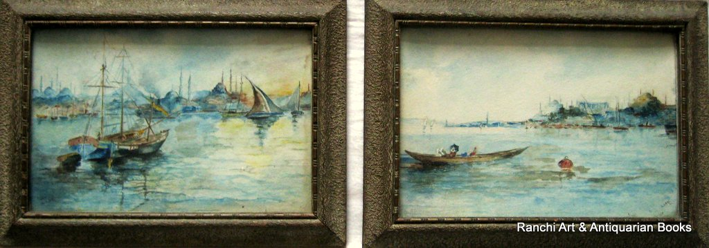 Istanbul maritime scenes, a pair, watercolours, signed L. Law. c1900.