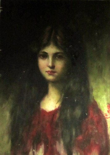 Portrait of a young lady, oil on board, unsigned, c1960