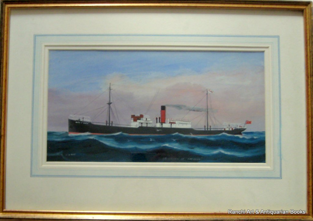 ss Crown of Cordova at Sea, gouache, signed H. Crane, c1910.