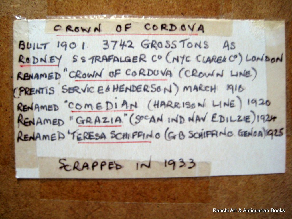 ss Crown of Cordova at Sea, gouache, signed H. Crane, c1910. Detail. Frame, verso. Label with history.