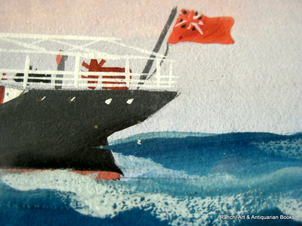 ss Crown of Cordova at Sea, gouache, signed H. Crane, c1910. Detail.