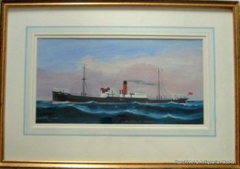 ss Crown of Cordova at Sea, gouache, signed H. Crane, c1910. Framed and glazed.