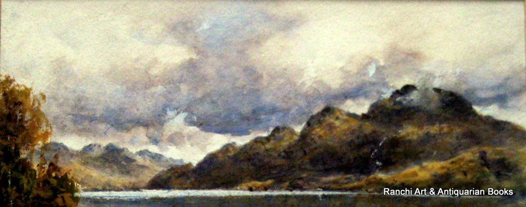 Loch Lomond & Ben Lomond, watercolour and gouache, signed H. Moxon Cook, c1920. Details.