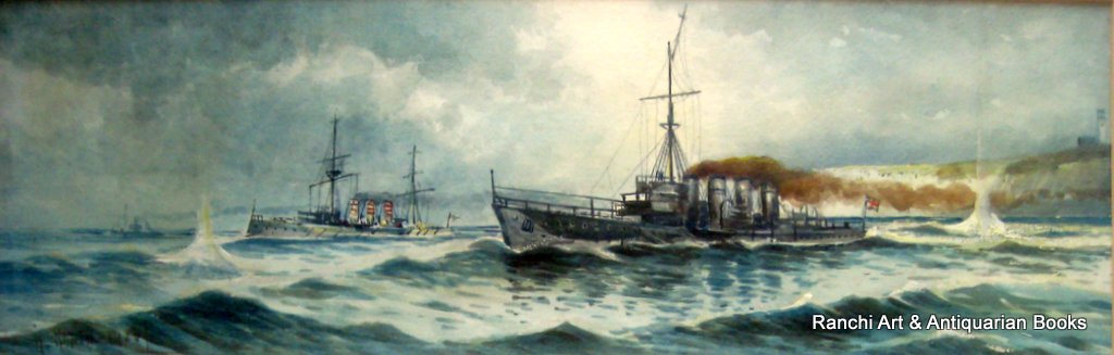 Anti-Submarine ops off Flamborough Head, watercolour gouache, signed Austin Smith 1920.