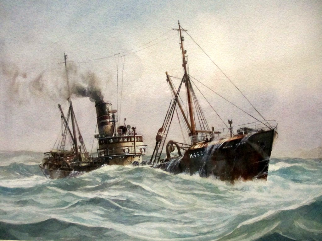 Hull trawler Arctic Viking off Flamborough Head, watercolour