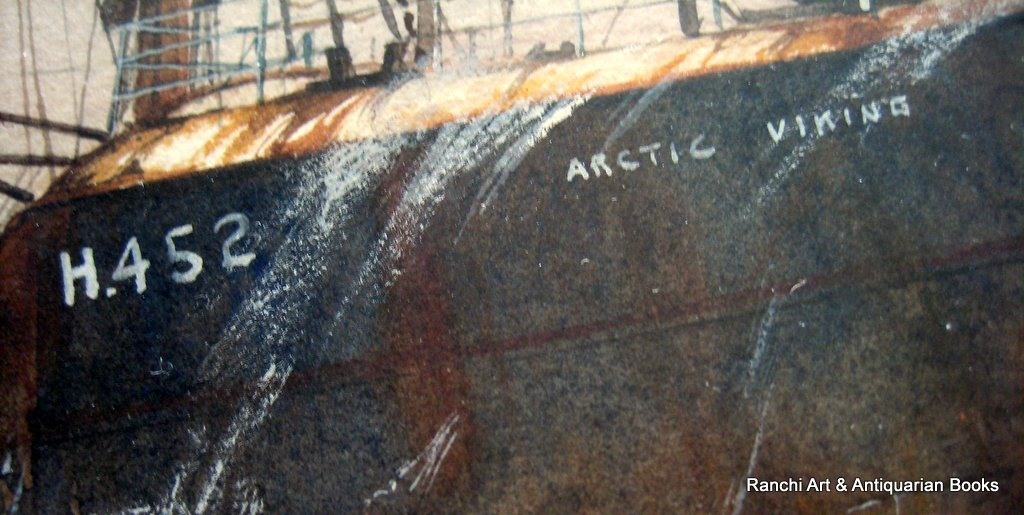 Hull trawler Arctic Viking off Flamborough Head, watercolour, signed David C. Bell '98. Detail.