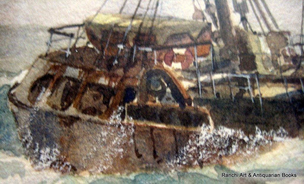 Hull trawler Arctic Viking off Flamborough Head, watercolour, signed David C. Bell '98. Detail.