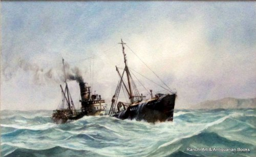 Hull trawler Arctic Viking off Flamborough Head, watercolour, signed David