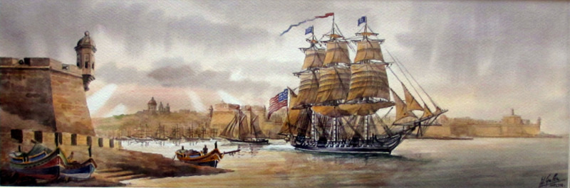 Grand Harbour 1804, USS Constitution, watercolour, Ed. Galea,1998. Malta