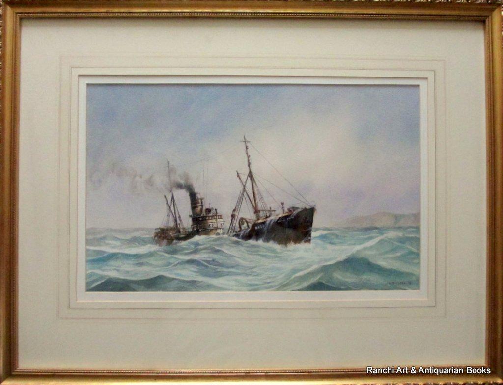 Hull trawler Arctic Viking off Flamborough Head, watercolour, signed David C. Bell '98.
