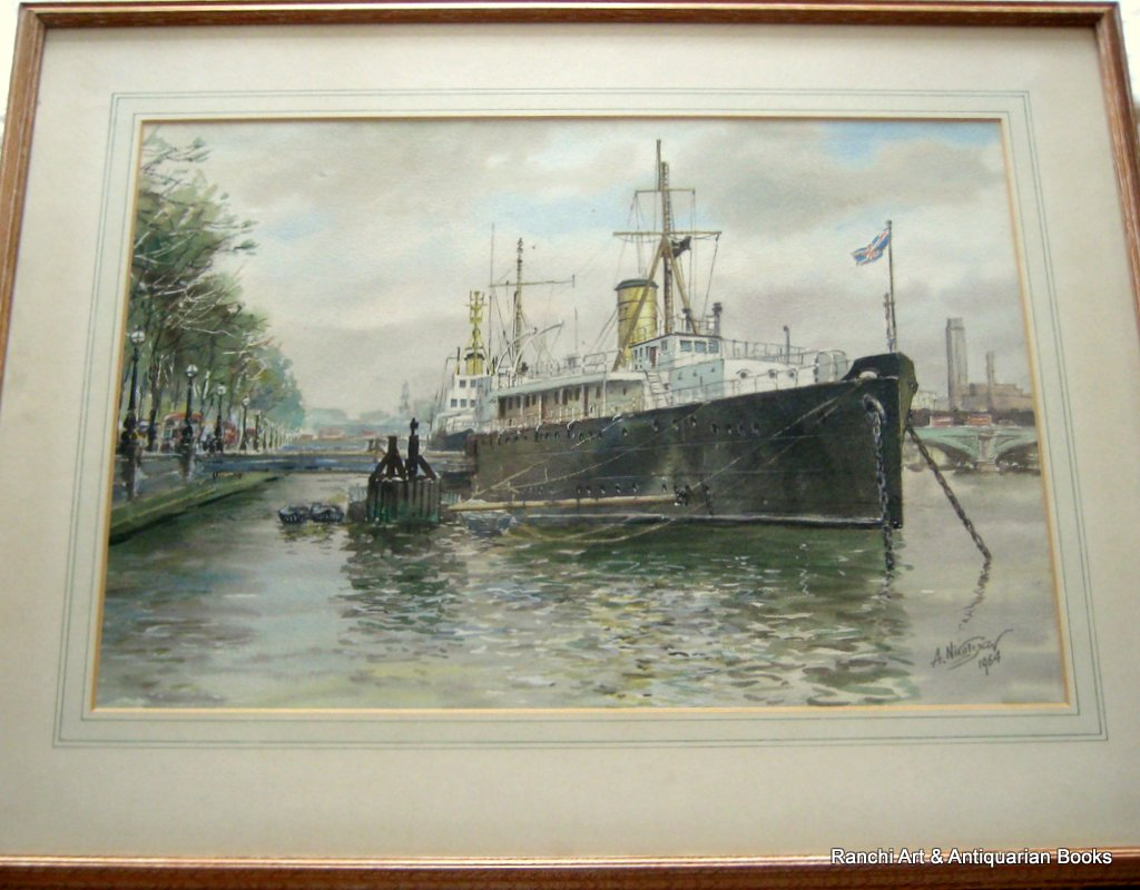 HMS Chrysanthemum, berthed Embankment, London, watercolour, signed A. Nikolsky 1964.
