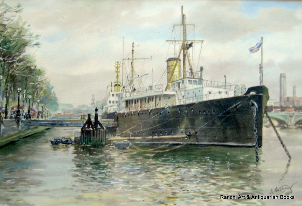 HMS Chrysanthemum, berthed Embankment, London, watercolour, signed A. Nikolsky 1964. Detail.