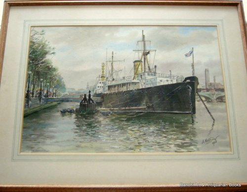 HMS Chrysanthemum berthed Embankment, watercolour, signed A. Nikolsky 1964.