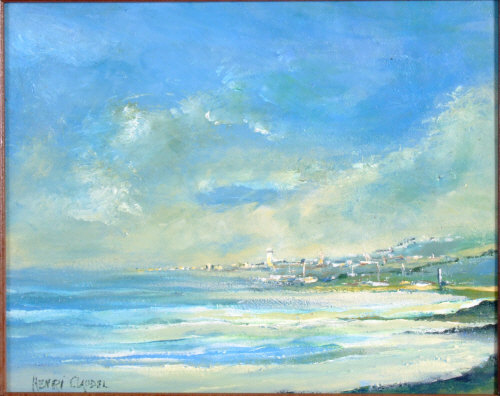 Vue de Cote de L'Atlantique, oil on board, signed Henri Claudel, c1970.