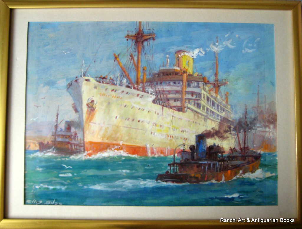 ss Strathallan leaving port watercolour gouache signed Ellis Silas c1939