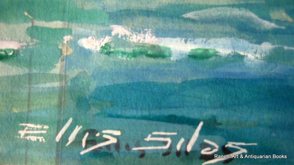 ss Strathallan leaving port watercolour gouache signed Ellis Silas c1939. Detail. Signature.