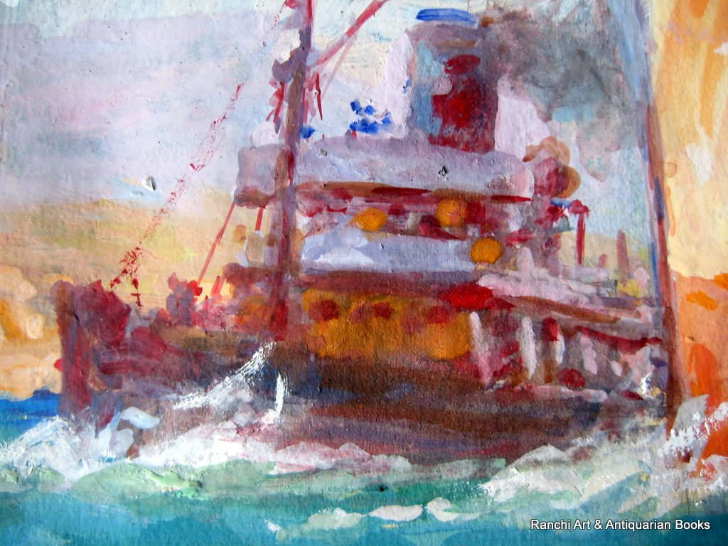 ss Strathallan leaving port watercolour gouache signed Ellis Silas c1939. Detail. Tug.