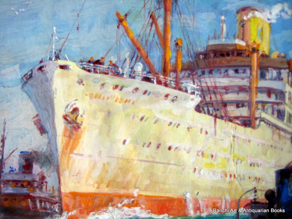 ss Strathallan leaving port watercolour gouache signed Ellis Silas c1939. Detail.