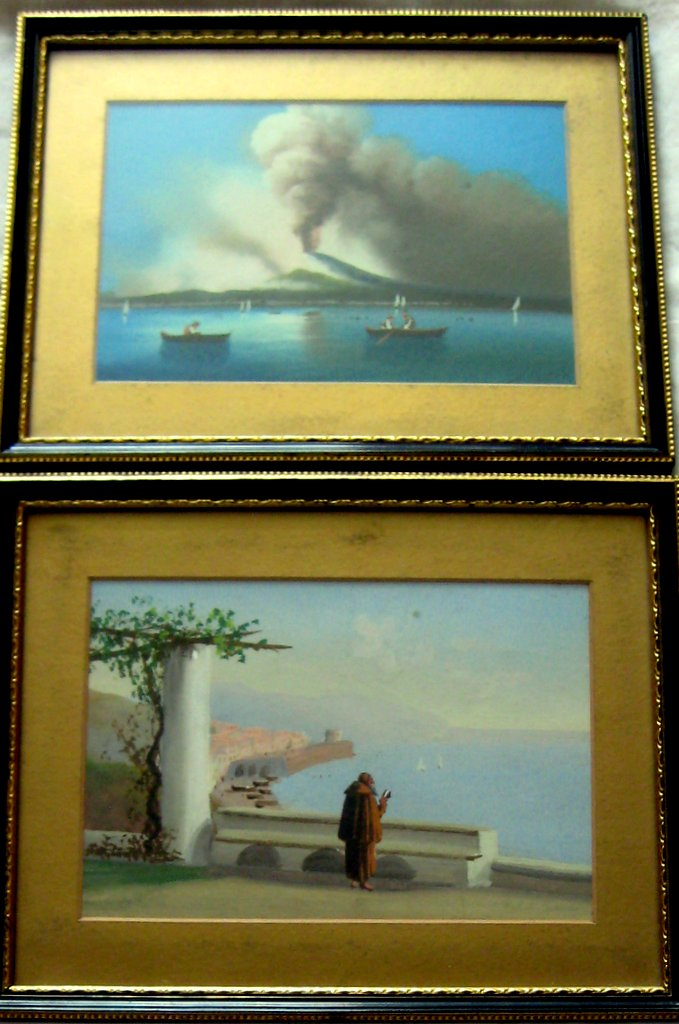 A. Coppola, a pair gouache studies, Bay of Naples and Amalfi, c1890.