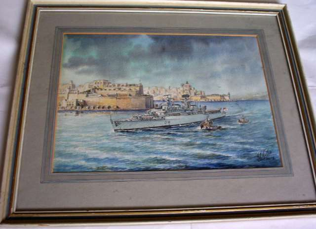 Edwin Galea, The end of an era, HMS London leaving Grand Harbour Valletta 1st April 1979, watercolour, 1979.