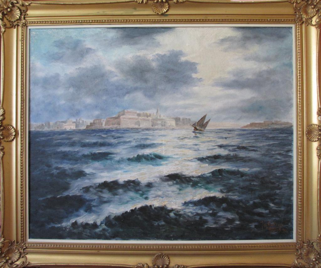 Joseph Galea, Malta, 1970, Valletta in Moonlight, oil on canvas.