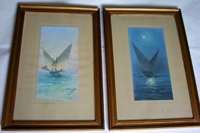 D'Esposito, Maltese fishing boat G.4 by day and night, watercolour gouache, a pair, c1900.