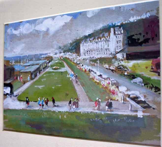John V Emms, Folkestone Promenade, watercolour gouache, c1960.e