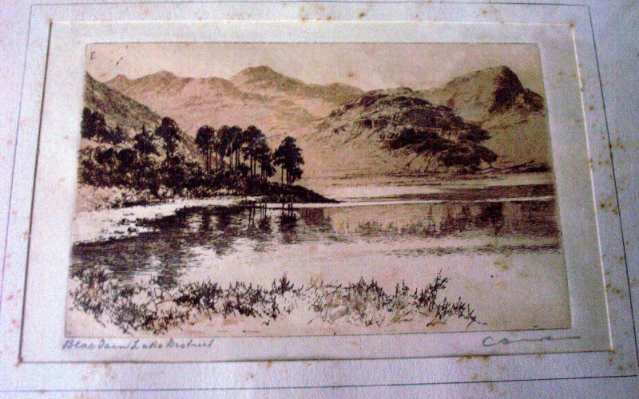 C. Dickens, Blae Tarn and Langdale Pikes, Lake District, etching, c1890.
