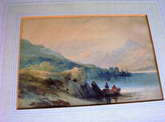 Attributed to WL Leitch, Mountainous lake scene, watercolour, c1860, unsigned.
