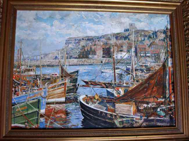 AF Watson, Whitby Harbour towards East Cliff, oil on canvas, c1960.