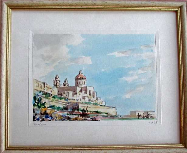 Joseph Galea, aka Jos Galea, Mdina Malta, watercolour, signed and titled. 1973.