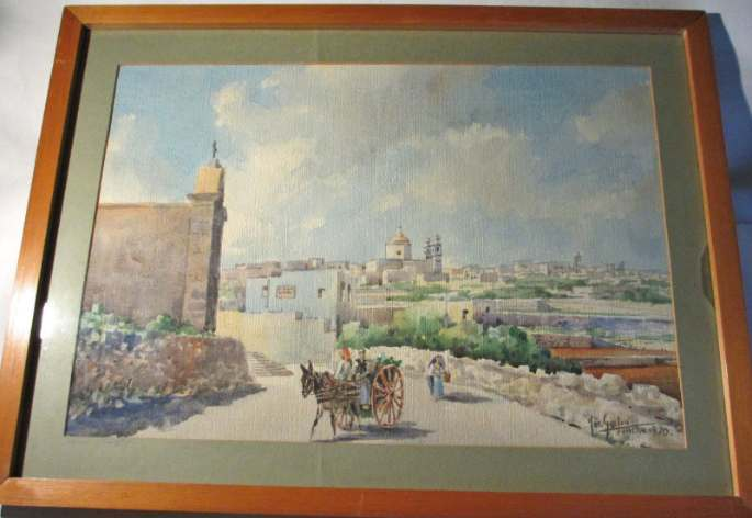 Joseph Galea, aka Jos Galea, Casal Gharghur, watercolour, signed and titled, 1970.