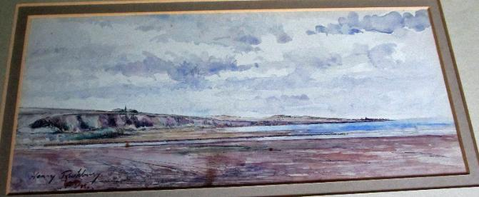 Sir Henry Rushbury, coastal scene, pen, ink and watercolour, signed. c1920.